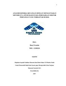 Analisis Kinerja Keuangan Dengan Menggunakan Metode Eva Studi Kasus Pada Perusahaan Sektor Pertanian Yang Terdaftar Di Issi Skripsi Repository Uin Raden Fatah Palembang