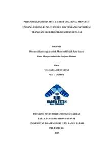 Perundungan Dunia Maya Cyber Bullying Menurut Undang Undang Ri No 19 Tahun 2016 Tentang Informasi Transaksi Elektronik Dan Hukum Islam Skripsi Repository Uin Raden Fatah Palembang